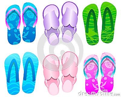 Flip flops Summer Icon Set