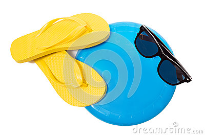Flip Flops Sunglasses And Frisbee On White