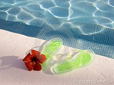 Flip-flops at swimming pool