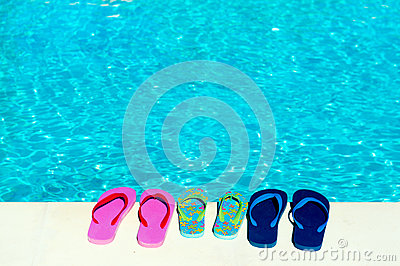 Flip flops at swimming pool