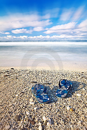 Flip flops on tropical beach