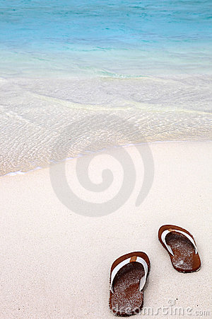Flip-flops  on a tropical beach