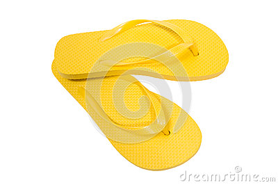 Flip Flops Yellow On White Background