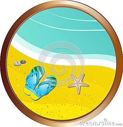 Flipflops on the sand border