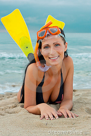 Flippers snorkel diving woman