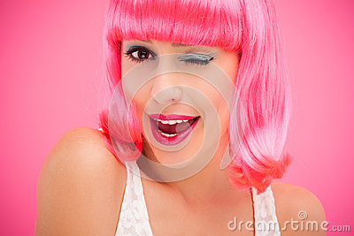Flirtatious woman winking