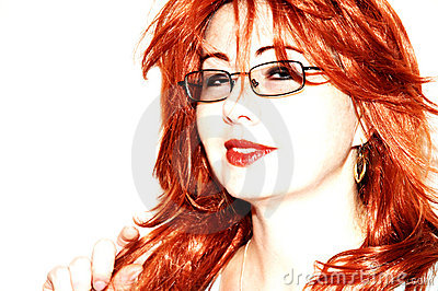 Flirting red haired woman