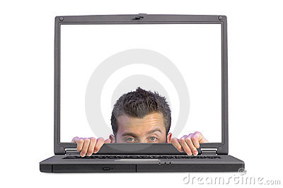 Flirty business man appearing on laptop
