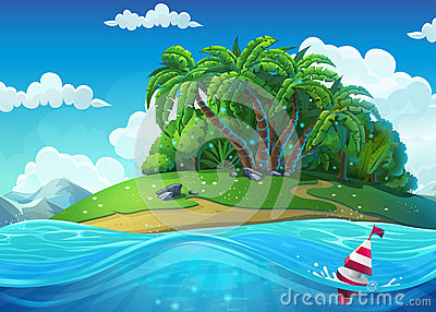 Float on the background of the island with palm trees in the sea Vector Illustration