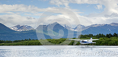 Float Plane Readies for Take Off Lake Hood Alaska