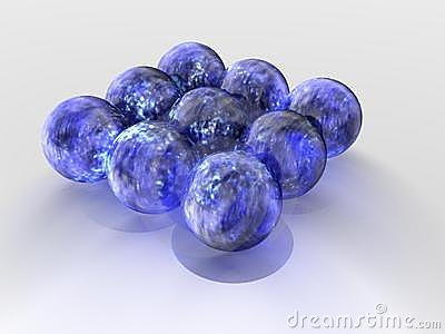 Floating blue spheres