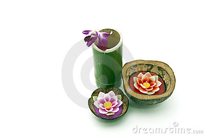 Floating candle in coconut shell