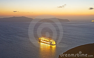 Floating city off Santorini? Editorial Photo