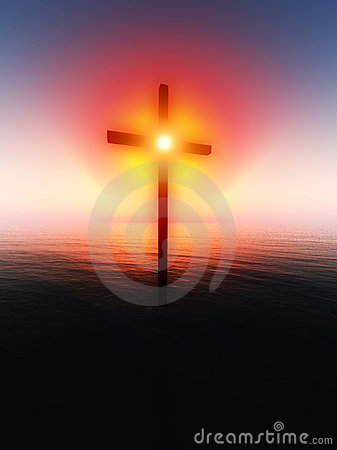 Floating Cross Over The Sea