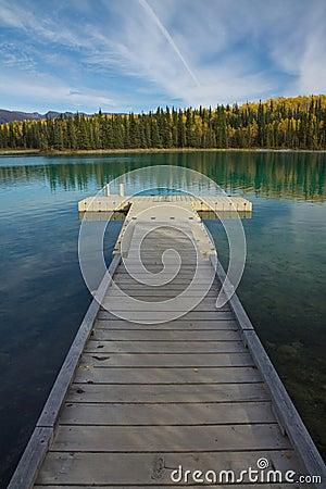 Free Floating Dock Perspective At Boya Lake Provincial Park, BC Royalty Free Stock Image - 61490446