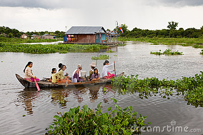 Floating Family, Cambodia Editorial Photo
