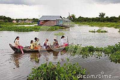 Floating Family, Cambodia Editorial Photo