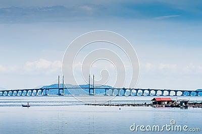 Floating Fish Cage and Penang Bridge