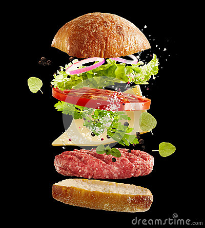 Free Floating Fresh Ingredients For A Beef Burger Stock Photography - 98989862