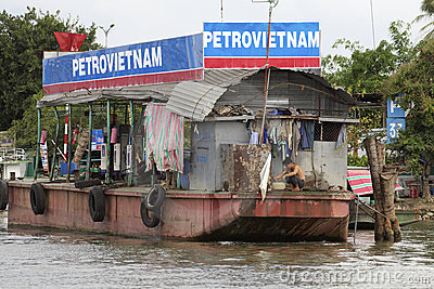 Floating Gasoline Barge Vietnam Editorial Stock Image
