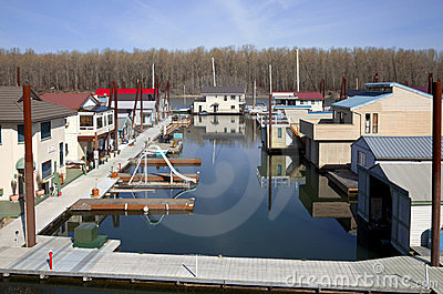 Floating Homes Neighborhood Portland Oregon Stock Image: portland floating homes