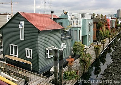 Floating Homes in Sea Village Editorial Image