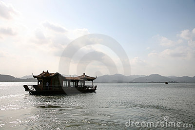 Floating house boats in lake