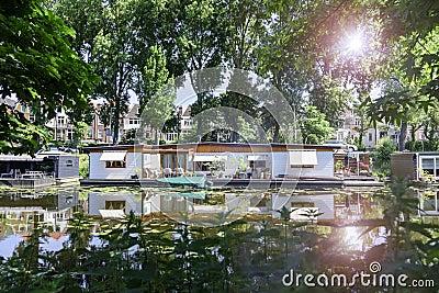 Floating houses Stock Photo