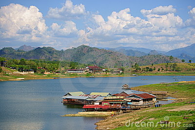 Floating houses, wangka, mon minority village Editorial Photography