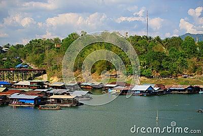 Floating houses, wangka, mon minority village Editorial Photo