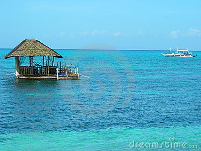 Floating hut at tropical island