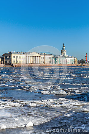 Free Floating Ice On Neva River In St. Petersburg, Russia Stock Photos - 51541403