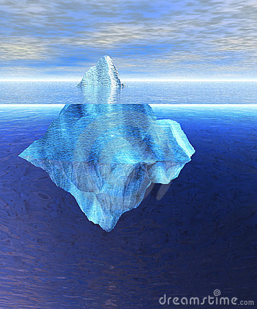 Floating Iceberg in the Open Ocean with Horizon