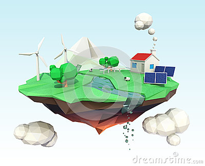 Floating island for ecology concept
