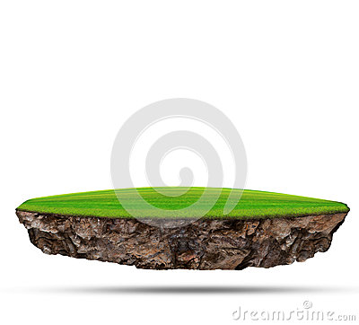 Free Floating Island Of Green Grass Field On Rock Land Use For Abstract Background Backdrop Royalty Free Stock Images - 36845219