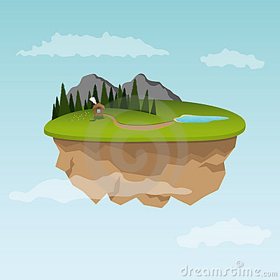 Floating island with small house