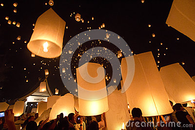 Floating lanterns Editorial Photography