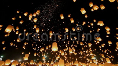 Floating lanterns in Yee Peng Festival, Loy Krathong celebration in Chiangmai, Thailand. Uprisen wide angle view. CHIANGMAI, THAILAND - APRIL 6: Unidentified