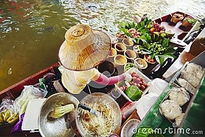 Floating market in Bangkok Stock Photo