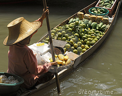 Floating Market at Damnoen Saduak - Thailand Editorial Stock Image
