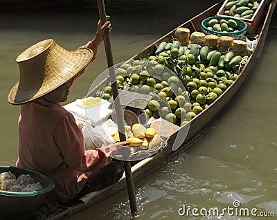 Floating Market at Damnoen Saduak - Thailand Editorial Stock Image