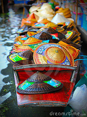 Floating market hat boat