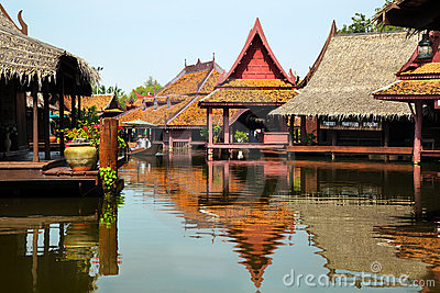Floating market in historical park Ancient City