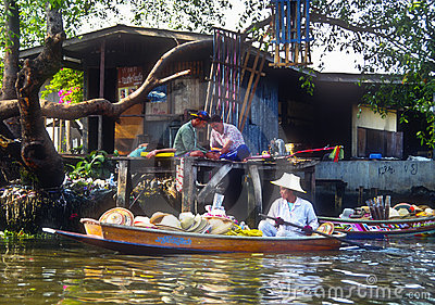 Floating Market Merchant, Thailand Editorial Photo
