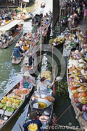 Floating Market Scene Editorial Photo