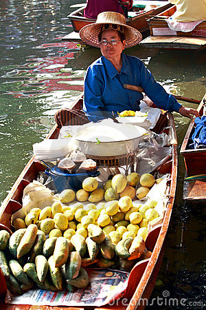 Floating market, Thailand Editorial Stock Photo