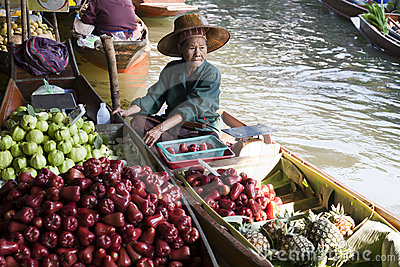 Floating Market Vendor Editorial Stock Image
