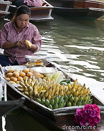 Floating Market Vendors Editorial Photo