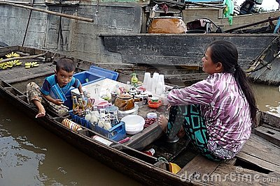 Floating markets in Can Tho, Vietnam Editorial Image
