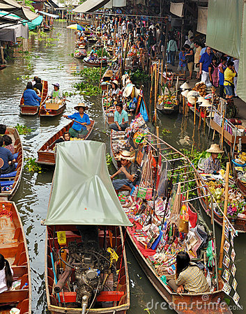 Floating markets in Damnoen Saduak, Thailand Editorial Image